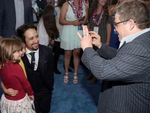 "HOLLYWOOD, CA - NOVEMBER 14: Songwriter Lin-Manuel Miranda (L) and actor Patton Oswalt attend The World Premiere of Disney's ""MOANA"" at the El Capitan Theatre on Monday, November 14, 2016 in Hollywood, CA. (Photo by Jesse Grant/Getty Images for Disney) *** Local Caption *** Lin-Manuel Miranda; Patton Oswalt"