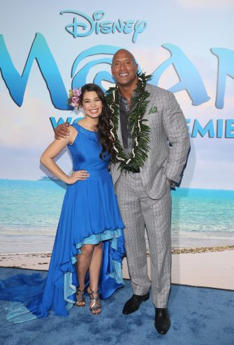 "HOLLYWOOD, CA - NOVEMBER 14: Actors Auli'i Cravalho (L) and Dwayne Johnson attend The World Premiere of Disney's ""MOANA"" at the El Capitan Theatre on Monday, November 14, 2016 in Hollywood, CA. (Photo by Jesse Grant/Getty Images for Disney) *** Local Caption *** Auli'i Cravalho; Dwayne Johnson"