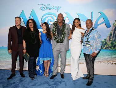 """HOLLYWOOD, CA - NOVEMBER 14: (L-R) Actors Alan Tudyk, Rachel House, Auli'i Cravalho, Dwayne Johnson, Nicole Scherzinger, and Temuera Morrison attend The World Premiere of Disney's """"MOANA"""" at the El Capitan Theatre on Monday, November 14, 2016 in Hollywood, CA. (Photo by Jesse Grant/Getty Images for Disney) *** Local Caption *** Auli'i Cravalho; Dwayne Johnson; Rachel House; Alan Tudyk; Nicole Scherzinger; Temuera Morrison"""