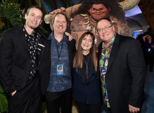"""HOLLYWOOD, CA - NOVEMBER 14: (L-R) Co-directors Chris Williams and Don Hall, producer Osnat Shurer, and executive producer John Lasseter attend The World Premiere of Disney's """"MOANA"""" at the El Capitan Theatre on Monday, November 14, 2016 in Hollywood, CA. (Photo by Alberto E. Rodriguez/Getty Images for Disney) *** Local Caption *** Chris Williams; Don Hall; Osnat Shurer; John Lasseter"""