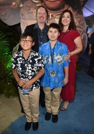 """HOLLYWOOD, CA - NOVEMBER 14: Co-Director Don Hall (top L) and family attend The World Premiere of Disney's """"MOANA"""" at the El Capitan Theatre on Monday, November 14, 2016 in Hollywood, CA. (Photo by Alberto E. Rodriguez/Getty Images for Disney) *** Local Caption *** Don Hall"""