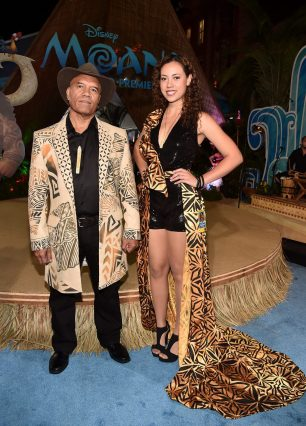 """HOLLYWOOD, CA - NOVEMBER 14: Musicians Opetaia Foa'i (L) and Olivia Foa'i of Te Vaka attend The World Premiere of Disney's """"MOANA"""" at the El Capitan Theatre on Monday, November 14, 2016 in Hollywood, CA. (Photo by Alberto E. Rodriguez/Getty Images for Disney) *** Local Caption *** Opetaia Foa'i; Olivia Foa'i"""