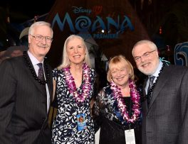 """HOLLYWOOD, CA - NOVEMBER 14: (L-R) Director John Musker, Gale Musker, Tamara Lee Clements, and director Ron Clements attend The World Premiere of Disney's """"MOANA"""" at the El Capitan Theatre on Monday, November 14, 2016 in Hollywood, CA. (Photo by Alberto E. Rodriguez/Getty Images for Disney) *** Local Caption *** Ron Clements; Gale Musker; Tamara Lee Clements; John Musker"""