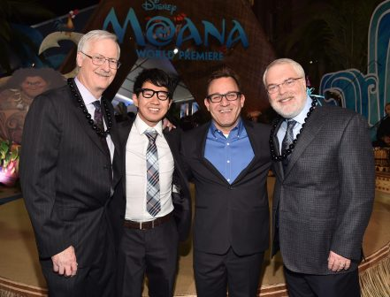 "HOLLYWOOD, CA - NOVEMBER 14: (L-R) Director John Musker, ""Inner Workings"" co-directors Leo Matsuda and Sean Lurie, and director Ron Clements attend The World Premiere of Disney's ""MOANA"" at the El Capitan Theatre on Monday, November 14, 2016 in Hollywood, CA. (Photo by Alberto E. Rodriguez/Getty Images for Disney) *** Local Caption *** Leo Matsuda; Sean Lurie; Ron Clements; John Musker"
