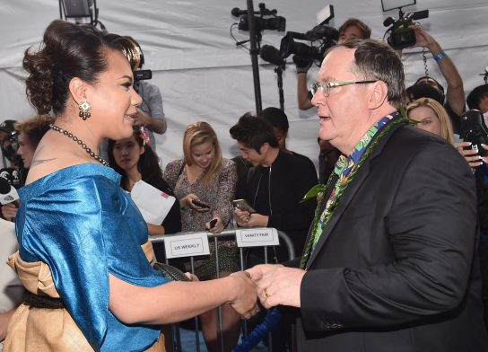 "HOLLYWOOD, CA - NOVEMBER 14: Hon. Frederica Tuita Filipe (L) greets executive producer John Lasseter at The World Premiere of Disney's ""MOANA"" at the El Capitan Theatre on Monday, November 14, 2016 in Hollywood, CA. (Photo by Alberto E. Rodriguez/Getty Images for Disney) *** Local Caption *** Frederica Tuita Filipe; John Lasseter"
