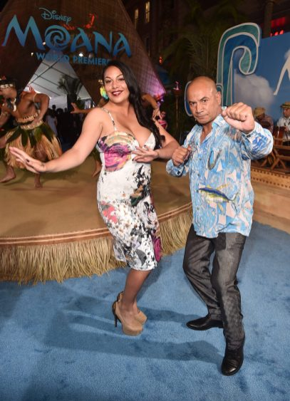 """HOLLYWOOD, CA - NOVEMBER 14: Actor Temuera Morrison (R) and guest attend The World Premiere of Disney's """"MOANA"""" at the El Capitan Theatre on Monday, November 14, 2016 in Hollywood, CA. (Photo by Alberto E. Rodriguez/Getty Images for Disney) *** Local Caption *** Temuera Morrison"""