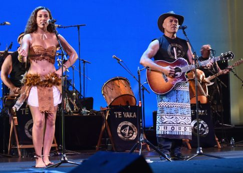 """HOLLYWOOD, CA - NOVEMBER 14: Musicians Olivia Foa'i (L) and Opetaia Foa'i perform onstage at The World Premiere of Disney's """"MOANA"""" at the El Capitan Theatre on Monday, November 14, 2016 in Hollywood, CA. (Photo by Alberto E. Rodriguez/Getty Images for Disney) *** Local Caption *** Opetaia Foa'i; Olivia Foa'i"""