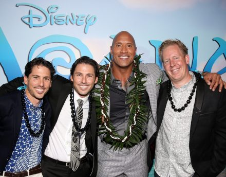 """HOLLYWOOD, CA - NOVEMBER 14: (L-R) Writers Aaron Kandell and Jordan Kandell, actor Dwayne Johnson, and screenwriter Jared Bush attend The World Premiere of Disney's """"MOANA"""" at the El Capitan Theatre on Monday, November 14, 2016 in Hollywood, CA. (Photo by Jesse Grant/Getty Images for Disney) *** Local Caption *** Dwayne Johnson; Jared Bush; Aaron Kandell; Jordan Kandell"""