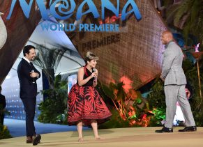 """HOLLYWOOD, CA - NOVEMBER 14: (L-R) Songwriter Lin-Manuel Miranda, actress Auli'i Cravalho and actor Dwayne Johnson speak onstage at The World Premiere of Disney's """"MOANA"""" at the El Capitan Theatre on Monday, November 14, 2016 in Hollywood, CA. (Photo by Alberto E. Rodriguez/Getty Images for Disney) *** Local Caption *** Auli'i Cravalho; Dwayne Johnson; Lin-Manuel Miranda"""