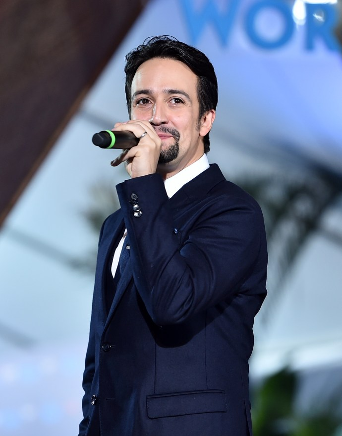 "HOLLYWOOD, CA - NOVEMBER 14: Songwriter Lin-Manuel Miranda speaks onstage at The World Premiere of Disney's ""MOANA"" at the El Capitan Theatre on Monday, November 14, 2016 in Hollywood, CA. (Photo by Alberto E. Rodriguez/Getty Images for Disney) *** Local Caption *** Lin-Manuel Miranda"