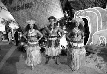 "HOLLYWOOD, CA - NOVEMBER 14: (EDITORS NOTE: Image has been shot in black and white. Color version not available.) (L-R) Dancers Anika Quinones, Kekaimana Kaho'ohanohano and Kiana Vergara attend The World Premiere of Disney's ""MOANA"" at the El Capitan Theatre on Monday, November 14, 2016 in Hollywood, CA. (Photo by Charley Gallay/Getty Images for Disney) *** Local Caption *** Anika Quinones; Kekaimana Kaho'ohanohano; Kiana Vergara"