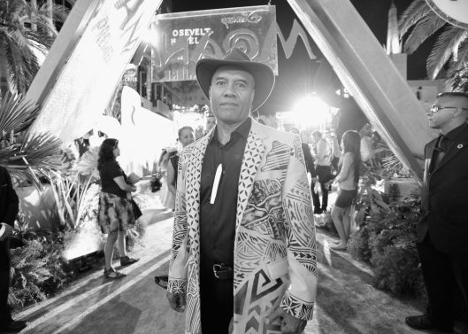 """HOLLYWOOD, CA - NOVEMBER 14: (EDITORS NOTE: Image has been shot in black and white. Color version not available.) Musician Opetaia Foa'i attends The World Premiere of Disney's """"MOANA"""" at the El Capitan Theatre on Monday, November 14, 2016 in Hollywood, CA. (Photo by Charley Gallay/Getty Images for Disney) *** Local Caption *** Opetaia Foa'i"""