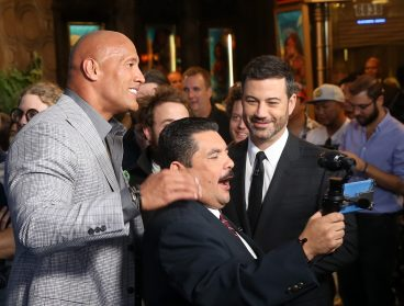 "HOLLYWOOD, CA - NOVEMBER 14: (L-R) Actor Dwayne Johnson, TV personalities Guillermo Rodriguez and Jimmy Kimmel attend The World Premiere of Disney's ""MOANA"" at the El Capitan Theatre on Monday, November 14, 2016 in Hollywood, CA. (Photo by Jesse Grant/Getty Images for Disney) *** Local Caption *** Jimmy Kimmel; Dwayne Johnson; Guillermo Rodriguez"