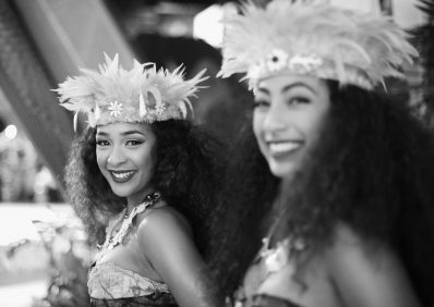 """HOLLYWOOD, CA - NOVEMBER 14: (EDITORS NOTE: Image has been shot in black and white. Color version not available.) Dancers Anika Quinones (L) and Kiana Vergara attend The World Premiere of Disney's """"MOANA"""" at the El Capitan Theatre on Monday, November 14, 2016 in Hollywood, CA. (Photo by Charley Gallay/Getty Images for Disney) *** Local Caption *** Anika Quinones; Kiana Vergara"""