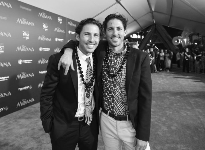 "HOLLYWOOD, CA - NOVEMBER 14: (EDITORS NOTE: Image has been shot in black and white. Color version not available.) Writers Jordan Kandell (L) and Aaron Kandell attend The World Premiere of Disney's ""MOANA"" at the El Capitan Theatre on Monday, November 14, 2016 in Hollywood, CA. (Photo by Charley Gallay/Getty Images for Disney) *** Local Caption *** Aaron Kandell; Jordan Kandell"
