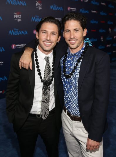 """HOLLYWOOD, CA - NOVEMBER 14: Writers Jordan Kandell (L) and Aaron Kandell attend The World Premiere of Disney's """"MOANA"""" at the El Capitan Theatre on Monday, November 14, 2016 in Hollywood, CA. (Photo by Jesse Grant/Getty Images for Disney) *** Local Caption *** Aaron Kandell; Jordan Kandell"""
