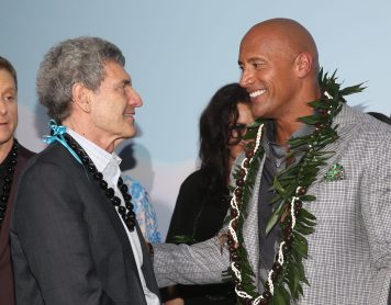 "HOLLYWOOD, CA - NOVEMBER 14: Walt Disney Studios Chairman Alan Horn (L) and actor Dwayne Johnson attend The World Premiere of Disney's ""MOANA"" at the El Capitan Theatre on Monday, November 14, 2016 in Hollywood, CA. (Photo by Jesse Grant/Getty Images for Disney) *** Local Caption *** Dwayne Johnson; Alan Horn"