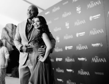 "HOLLYWOOD, CA - NOVEMBER 14: (EDITORS NOTE: Image has been shot in black and white. Color version not available.) Actors Dwayne Johnson (L) and Auli'i Cravalho attend The World Premiere of Disney's ""MOANA"" at the El Capitan Theatre on Monday, November 14, 2016 in Hollywood, CA. (Photo by Charley Gallay/Getty Images for Disney) *** Local Caption *** Auli'i Cravalho; Dwayne Johnson"