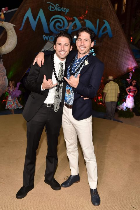 """HOLLYWOOD, CA - NOVEMBER 14: Writers Jordan Kandell (L) and Aaron Kandell attend The World Premiere of Disney's """"MOANA"""" at the El Capitan Theatre on Monday, November 14, 2016 in Hollywood, CA. (Photo by Alberto E. Rodriguez/Getty Images for Disney) *** Local Caption *** Aaron Kandell; Jordan Kandell"""