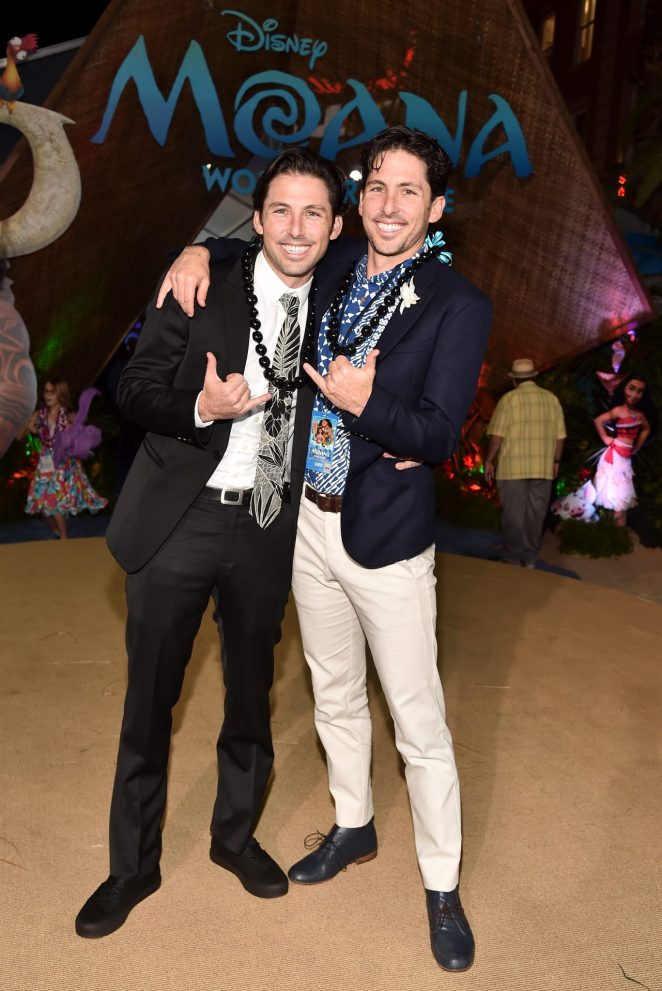 "HOLLYWOOD, CA - NOVEMBER 14: Writers Jordan Kandell (L) and Aaron Kandell attend The World Premiere of Disney's ""MOANA"" at the El Capitan Theatre on Monday, November 14, 2016 in Hollywood, CA. (Photo by Alberto E. Rodriguez/Getty Images for Disney) *** Local Caption *** Aaron Kandell; Jordan Kandell"