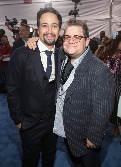 """HOLLYWOOD, CA - NOVEMBER 14: Songwriter Lin-Manuel Miranda (L) and actor Patton Oswalt attend The World Premiere of Disney's """"MOANA"""" at the El Capitan Theatre on Monday, November 14, 2016 in Hollywood, CA. (Photo by Jesse Grant/Getty Images for Disney) *** Local Caption *** Lin-Manuel Miranda; Patton Oswalt"""