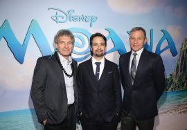 """HOLLYWOOD, CA - NOVEMBER 14: (L-R) Walt Disney Studios Chairman Alan Horn, songwriter Lin-Manuel Miranda, and Walt Disney Company CEO Robert Iger attend The World Premiere of Disney's """"MOANA"""" at the El Capitan Theatre on Monday, November 14, 2016 in Hollywood, CA. (Photo by Jesse Grant/Getty Images for Disney) *** Local Caption *** Lin-Manuel Miranda; Robert Iger; Alan Horn"""