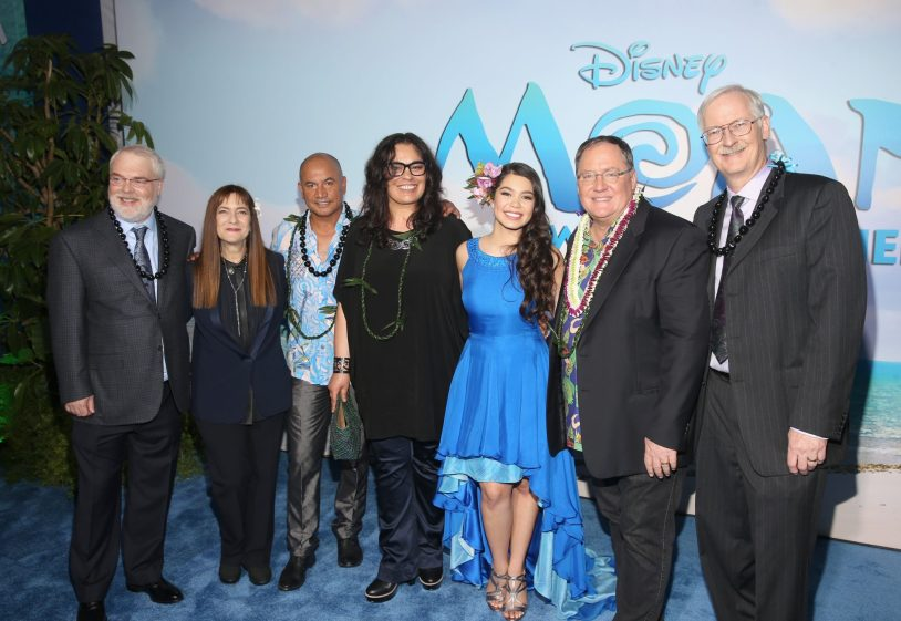 """HOLLYWOOD, CA - NOVEMBER 14: (L-R) Director Ron Clements, producer Osnat Shurer, actors Temuera Morrison, Rachel House and Auli'i Cravalho, executive producer John Lasseter, and director John Musker attend The World Premiere of Disney's """"MOANA"""" at the El Capitan Theatre on Monday, November 14, 2016 in Hollywood, CA. (Photo by Jesse Grant/Getty Images for Disney) *** Local Caption *** Auli'i Cravalho; Rachel House; Temuera Morrison; John Lasseter; John Musker; Ron Clements; Osnat Shurer"""