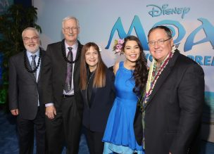 """HOLLYWOOD, CA - NOVEMBER 14: (L-R) Directors Ron Clements and John Musker, producer Osnat Shurer, actress Auli'i Cravalho, and executive producer John Lasseter attend The World Premiere of Disney's """"MOANA"""" at the El Capitan Theatre on Monday, November 14, 2016 in Hollywood, CA. (Photo by Jesse Grant/Getty Images for Disney) *** Local Caption *** Auli'i Cravalho; John Lasseter; John Musker; Ron Clements; Osnat Shurer"""