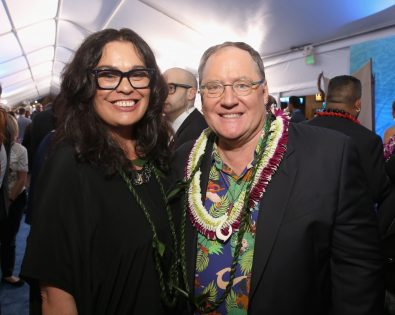 """HOLLYWOOD, CA - NOVEMBER 14: Actress Rachel House (L) and executive producer John Lasseter attend The World Premiere of Disney's """"MOANA"""" at the El Capitan Theatre on Monday, November 14, 2016 in Hollywood, CA. (Photo by Jesse Grant/Getty Images for Disney) *** Local Caption *** John Lasseter; Rachel House"""