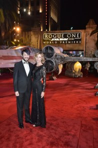 """HOLLYWOOD, CA - DECEMBER 10: Actor Wil Wheaton (L) and hair stylist Anne Wheaton attend The World Premiere of Lucasfilm's highly anticipated, first-ever, standalone Star Wars adventure, """"Rogue One: A Star Wars Story"""" at the Pantages Theatre on December 10, 2016 in Hollywood, California. (Photo by Marc Flores/Getty Images for Disney) *** Local Caption *** Wil Wheaton; Anne Wheaton"""