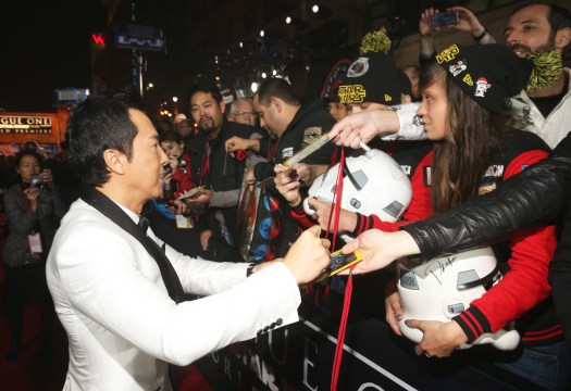 "HOLLYWOOD, CA - DECEMBER 10: Actor Donnie Yen attends The World Premiere of Lucasfilm's highly anticipated, first-ever, standalone Star Wars adventure, ""Rogue One: A Star Wars Story"" at the Pantages Theatre on December 10, 2016 in Hollywood, California. (Photo by Jesse Grant/Getty Images for Disney) *** Local Caption *** Donnie Yen"