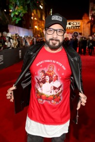 """HOLLYWOOD, CA - DECEMBER 10: Singer A. J. McLean attends The World Premiere of Lucasfilm's highly anticipated, first-ever, standalone Star Wars adventure, """"Rogue One: A Star Wars Story"""" at the Pantages Theatre on December 10, 2016 in Hollywood, California. (Photo by Jesse Grant/Getty Images for Disney) *** Local Caption *** A. J. McLean"""