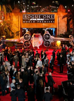 "HOLLYWOOD, CA - DECEMBER 10: A view of the atmosphere at The World Premiere of Lucasfilm's highly anticipated, first-ever, standalone Star Wars adventure, ""Rogue One: A Star Wars Story"" at the Pantages Theatre on December 10, 2016 in Hollywood, California. (Photo by Rich Polk/Getty Images for Disney)"