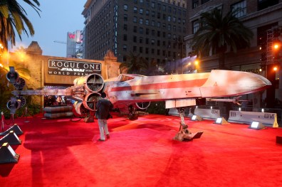 """HOLLYWOOD, CA - DECEMBER 10: A view of the atmosphere at The World Premiere of Lucasfilm's highly anticipated, first-ever, standalone Star Wars adventure, """"Rogue One: A Star Wars Story"""" at the Pantages Theatre on December 10, 2016 in Hollywood, California. (Photo by Jesse Grant/Getty Images for Disney)"""