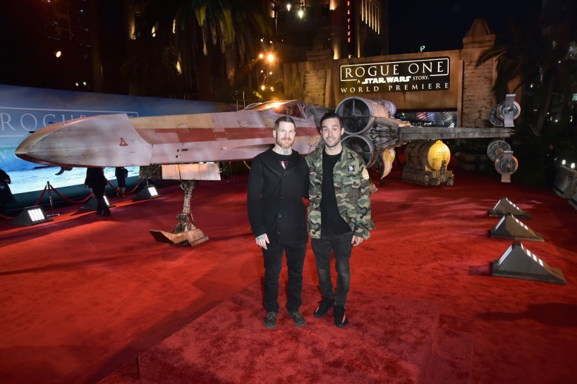 """HOLLYWOOD, CA - DECEMBER 10: Musicians Andy Hurley (L) and Pete Wentz of Fall Out Boy attend The World Premiere of Lucasfilm's highly anticipated, first-ever, standalone Star Wars adventure, """"Rogue One: A Star Wars Story"""" at the Pantages Theatre on December 10, 2016 in Hollywood, California. (Photo by Marc Flores/Getty Images for Disney) *** Local Caption *** Andy Hurley; Pete Wentz"""