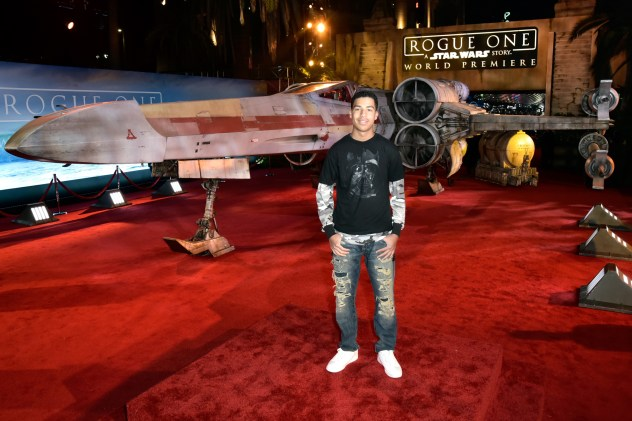 """HOLLYWOOD, CA - DECEMBER 10: Actor Marcus Scribner attends The World Premiere of Lucasfilm's highly anticipated, first-ever, standalone Star Wars adventure, """"Rogue One: A Star Wars Story"""" at the Pantages Theatre on December 10, 2016 in Hollywood, California. (Photo by Marc Flores/Getty Images for Disney) *** Local Caption *** Marcus Scribner"""