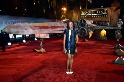 """HOLLYWOOD, CA - DECEMBER 10: Actress Aisha Tyler attends The World Premiere of Lucasfilm's highly anticipated, first-ever, standalone Star Wars adventure, """"Rogue One: A Star Wars Story"""" at the Pantages Theatre on December 10, 2016 in Hollywood, California. (Photo by Marc Flores/Getty Images for Disney) *** Local Caption *** Aisha Tyler"""