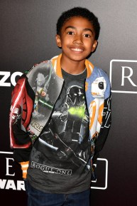 "HOLLYWOOD, CA - DECEMBER 10: Actor Miles Brown attends The World Premiere of Lucasfilm's highly anticipated, first-ever, standalone Star Wars adventure, ""Rogue One: A Star Wars Story"" at the Pantages Theatre on December 10, 2016 in Hollywood, California. (Photo by Earl Gibson III/Getty Images for Disney) *** Local Caption *** Miles Brown"