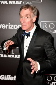 """HOLLYWOOD, CA - DECEMBER 10: Bill Nye attends The World Premiere of Lucasfilm's highly anticipated, first-ever, standalone Star Wars adventure, """"Rogue One: A Star Wars Story"""" at the Pantages Theatre on December 10, 2016 in Hollywood, California. (Photo by Earl Gibson III/Getty Images for Disney) *** Local Caption *** Bill Nye"""