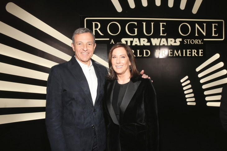 "HOLLYWOOD, CA - DECEMBER 10: The Walt Disney Company Chairman and CEO Bob Iger (L) and Producer Kathleen Kennedy attend The World Premiere of Lucasfilm's highly anticipated, first-ever, standalone Star Wars adventure, ""Rogue One: A Star Wars Story"" at the Pantages Theatre on December 10, 2016 in Hollywood, California. (Photo by Jesse Grant/Getty Images for Disney) *** Local Caption *** Bob Iger; Kathleen Kennedy"