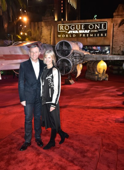 """HOLLYWOOD, CA - DECEMBER 10: The Walt Disney Company Chairman and CEO Bob Iger (L) and Willow Bay attend The World Premiere of Lucasfilm's highly anticipated, first-ever, standalone Star Wars adventure, """"Rogue One: A Star Wars Story"""" at the Pantages Theatre on December 10, 2016 in Hollywood, California. (Photo by Marc Flores/Getty Images for Disney) *** Local Caption *** Bob Iger; Willow Bay"""