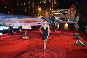 "HOLLYWOOD, CA - DECEMBER 10: Actress Carly Hughes attends The World Premiere of Lucasfilm's highly anticipated, first-ever, standalone Star Wars adventure, ""Rogue One: A Star Wars Story"" at the Pantages Theatre on December 10, 2016 in Hollywood, California. (Photo by Marc Flores/Getty Images for Disney) *** Local Caption *** Carly Hughes"