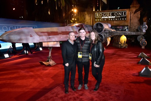 """HOLLYWOOD, CA - DECEMBER 10: Walt Disney Studios President Alan Bergman (L) and family attend The World Premiere of Lucasfilm's highly anticipated, first-ever, standalone Star Wars adventure, """"Rogue One: A Star Wars Story"""" at the Pantages Theatre on December 10, 2016 in Hollywood, California. (Photo by Marc Flores/Getty Images for Disney) *** Local Caption *** Alan Bergman"""