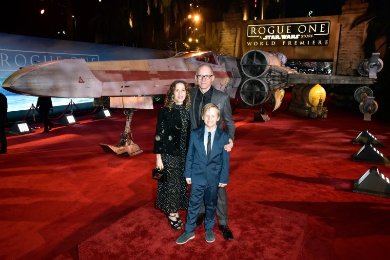 """HOLLYWOOD, CA - DECEMBER 10: Producer Allison Shearmur (L) and family attend The World Premiere of Lucasfilm's highly anticipated, first-ever, standalone Star Wars adventure, """"Rogue One: A Star Wars Story"""" at the Pantages Theatre on December 10, 2016 in Hollywood, California. (Photo by Marc Flores/Getty Images for Disney) *** Local Caption *** Allison Shearmur"""