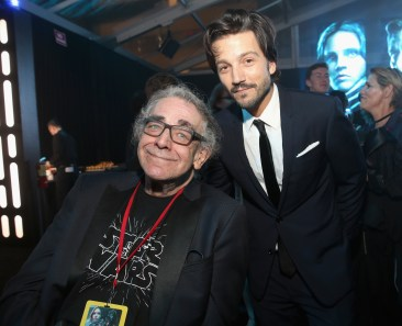 """HOLLYWOOD, CA - DECEMBER 10: Actors Peter Mayhew (L) and Diego Luna attend The World Premiere of Lucasfilm's highly anticipated, first-ever, standalone Star Wars adventure, """"Rogue One: A Star Wars Story"""" at the Pantages Theatre on December 10, 2016 in Hollywood, California. (Photo by Jesse Grant/Getty Images for Disney) *** Local Caption *** Peter Mayhew; Diego Luna"""
