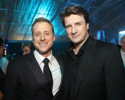 """HOLLYWOOD, CA - DECEMBER 10: Actors Alan Tudyk (L) and Nathan Fillion attend The World Premiere of Lucasfilm's highly anticipated, first-ever, standalone Star Wars adventure, """"Rogue One: A Star Wars Story"""" at the Pantages Theatre on December 10, 2016 in Hollywood, California. (Photo by Jesse Grant/Getty Images for Disney) *** Local Caption *** Alan Tudyk; Nathan Fillion"""