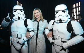 """HOLLYWOOD, CA - DECEMBER 10: Actress Geena Davis (C) attends The World Premiere of Lucasfilm's highly anticipated, first-ever, standalone Star Wars adventure, """"Rogue One: A Star Wars Story"""" at the Pantages Theatre on December 10, 2016 in Hollywood, California. (Photo by Jesse Grant/Getty Images for Disney) *** Local Caption *** Geena Davis"""