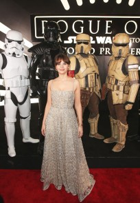 "HOLLYWOOD, CA - DECEMBER 10: Actress Felicity Jones attends The World Premiere of Lucasfilm's highly anticipated, first-ever, standalone Star Wars adventure, ""Rogue One: A Star Wars Story"" at the Pantages Theatre on December 10, 2016 in Hollywood, California. (Photo by Jesse Grant/Getty Images for Disney) *** Local Caption *** Felicity Jones"
