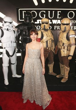 """HOLLYWOOD, CA - DECEMBER 10: Actress Felicity Jones attends The World Premiere of Lucasfilm's highly anticipated, first-ever, standalone Star Wars adventure, """"Rogue One: A Star Wars Story"""" at the Pantages Theatre on December 10, 2016 in Hollywood, California. (Photo by Jesse Grant/Getty Images for Disney) *** Local Caption *** Felicity Jones"""