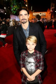 "HOLLYWOOD, CA - DECEMBER 10: Singer Kevin Richardson of Backstreet Boys (top) and Maxwell Richardson attend The World Premiere of Lucasfilm's highly anticipated, first-ever, standalone Star Wars adventure, ""Rogue One: A Star Wars Story"" at the Pantages Theatre on December 10, 2016 in Hollywood, California. (Photo by Jesse Grant/Getty Images for Disney) *** Local Caption *** Kevin Richardson; Maxwell Richardson"